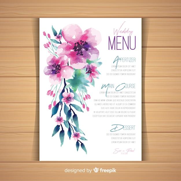 Aquarel bloemen bruiloft menusjabloon Gratis Vector