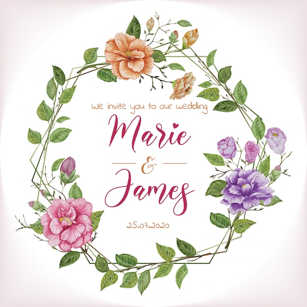 Aquarel bloemen bruiloft uitnodiging banner Premium Vector