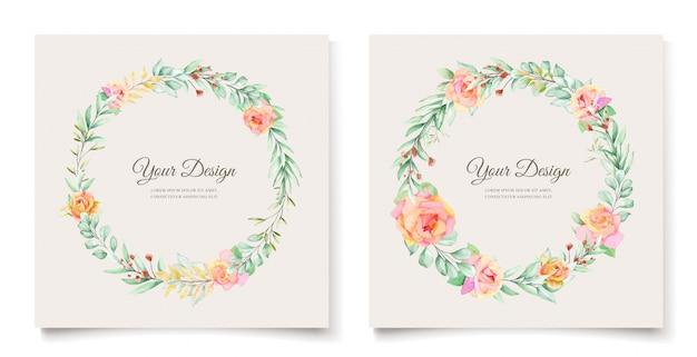 Aquarel bloemen bruiloft uitnodiging kaart ontwerp Gratis Vector