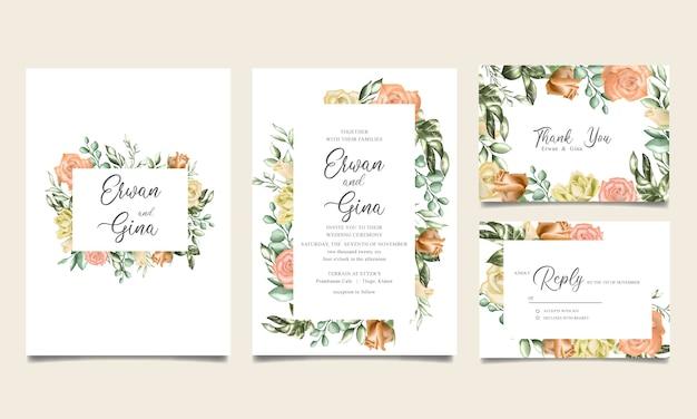 Aquarel bloemen bruiloft uitnodiging sjabloon Premium Vector