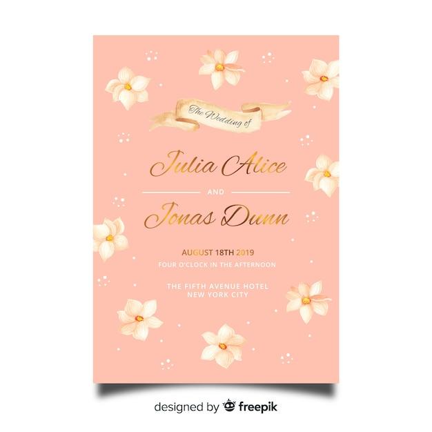 Aquarel bloemen bruiloft uitnodiging sjabloon Gratis Vector