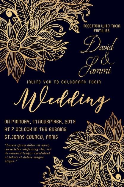 Aquarel bloemen bruiloft uitnodigingskaart Premium Vector