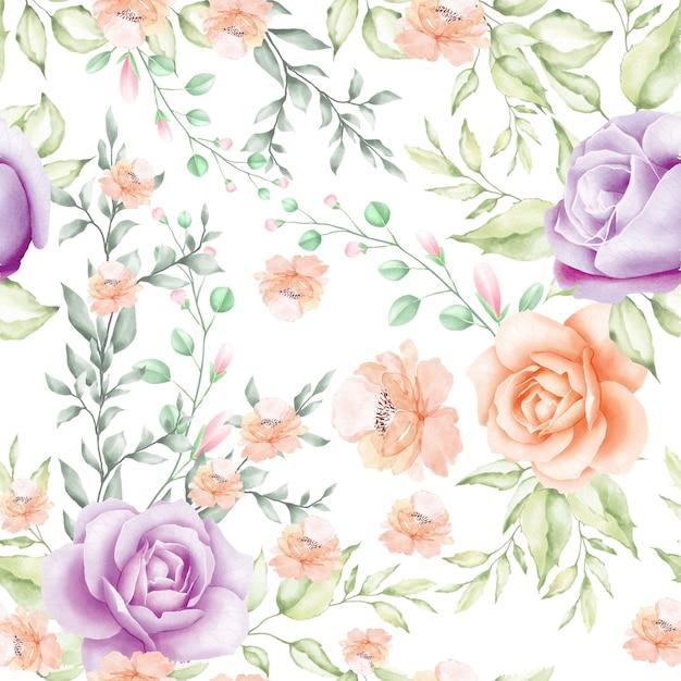 Aquarel bloemen en bladeren naadloze patroon Premium Vector