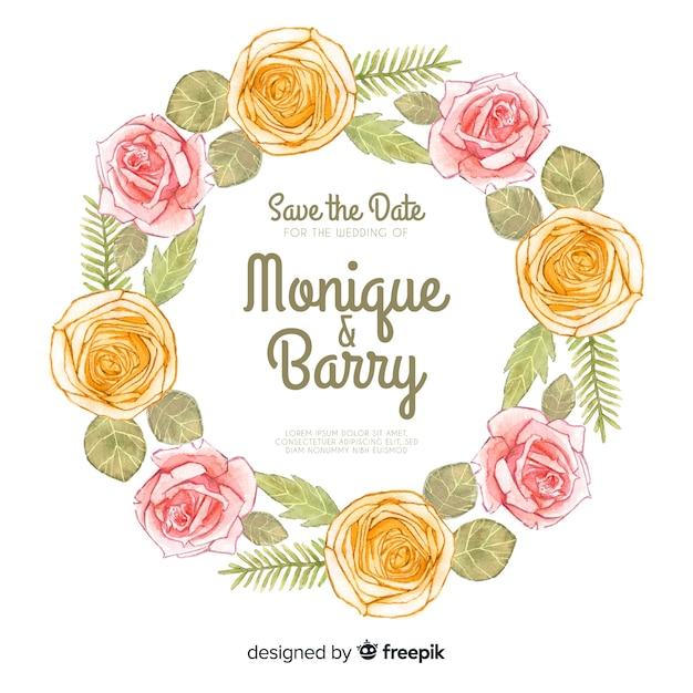 Aquarel bloemen frame bruiloft kaart Gratis Vector