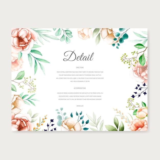 Aquarel bloemen frame bruiloft uitnodiging Premium Vector