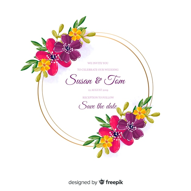 Aquarel bloemen frame bruiloft uitnodiging Gratis Vector