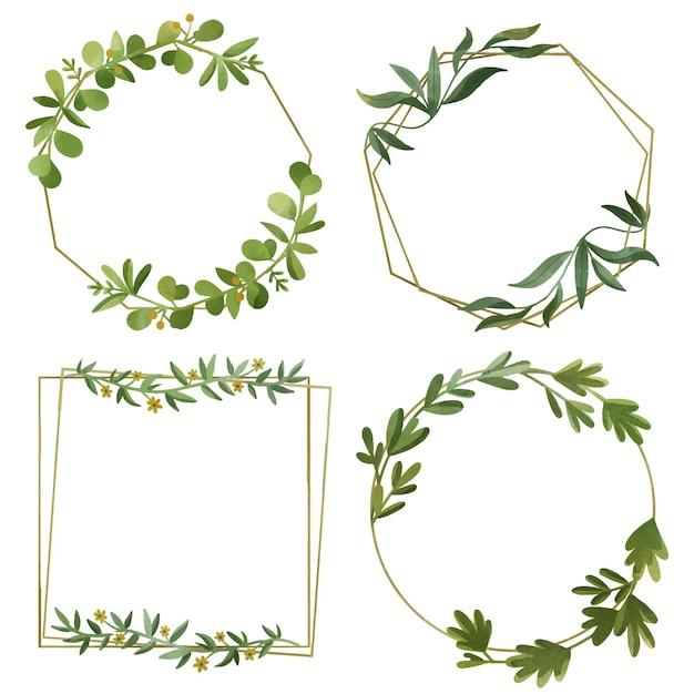 Aquarel bloemen frame-collectie Gratis Vector