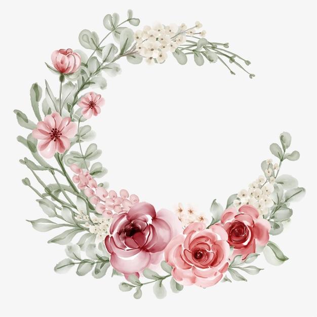 Aquarel bloemen frame met ronde rand Gratis Vector
