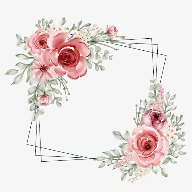 Aquarel bloemen frame met vierkante lijnrand Premium Vector