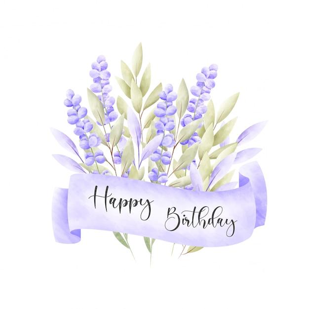Aquarel bloemen frame. verjaardagskaart. Gratis Vector