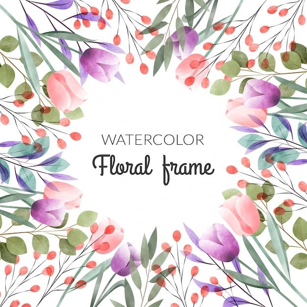 Aquarel bloemen frame Premium Vector