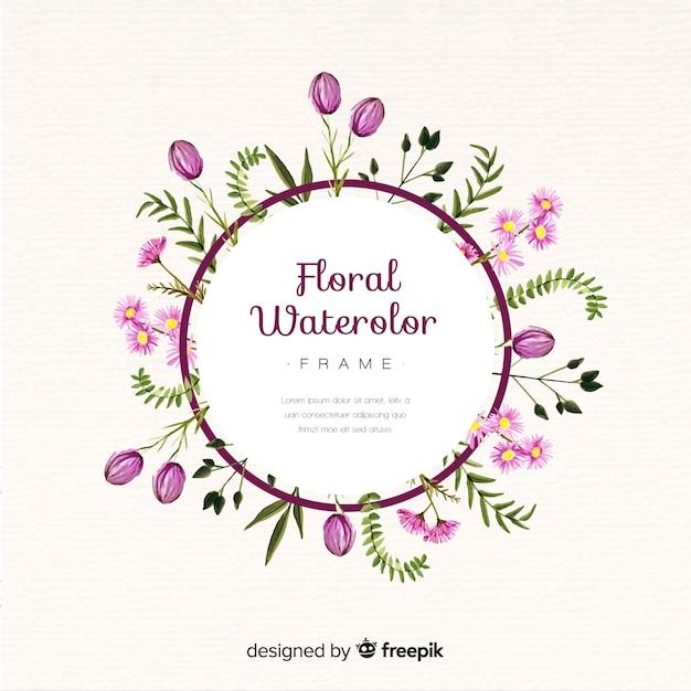 Aquarel bloemen frame Gratis Vector
