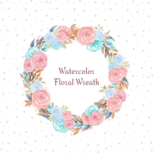 Aquarel bloemen krans met kleurrijke bloemen Premium Vector
