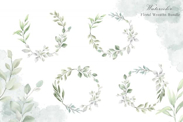 Aquarel bloemen krans voor bruiloft uitnodiging kaartsjabloon Premium Vector