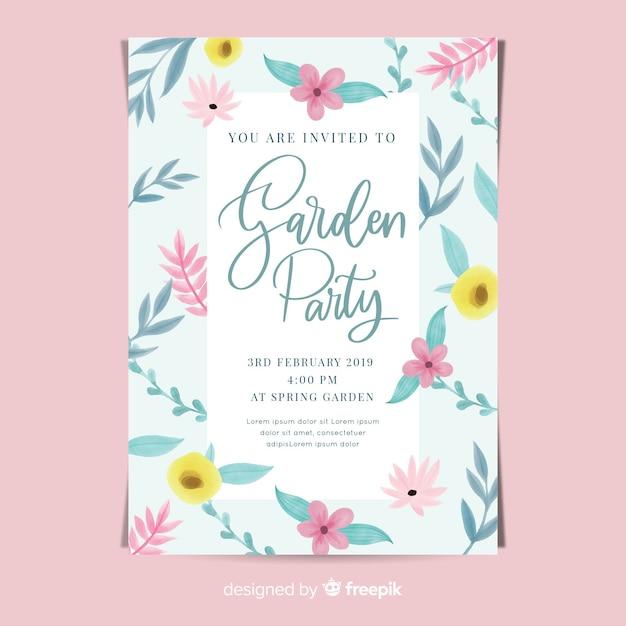 Aquarel bloemen tuinfeest poster Gratis Vector
