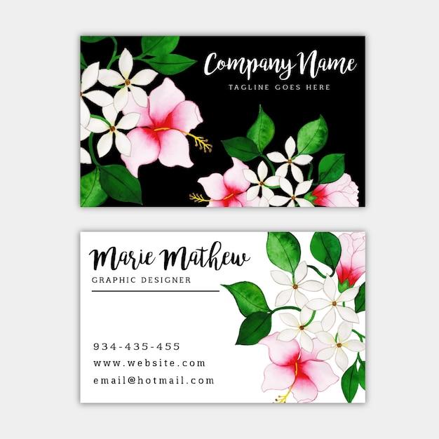 Aquarel bloemen visitekaartje Premium Vector