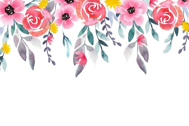 Aquarel bloemen wallpaper stijl Gratis Vector