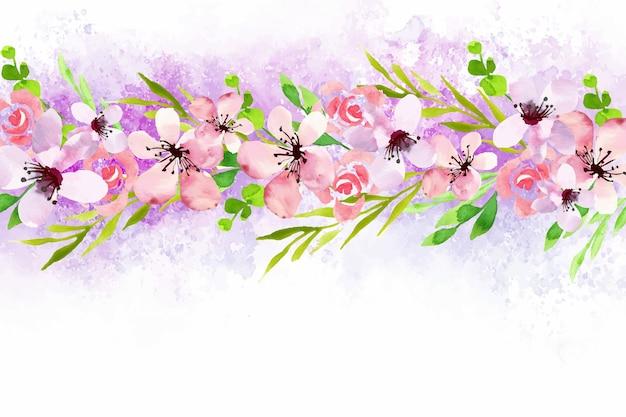 Aquarel bloemen wallpaper thema Gratis Vector