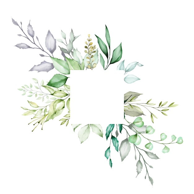 Aquarel bloemenframe multifunctionele achtergrond Premium Vector