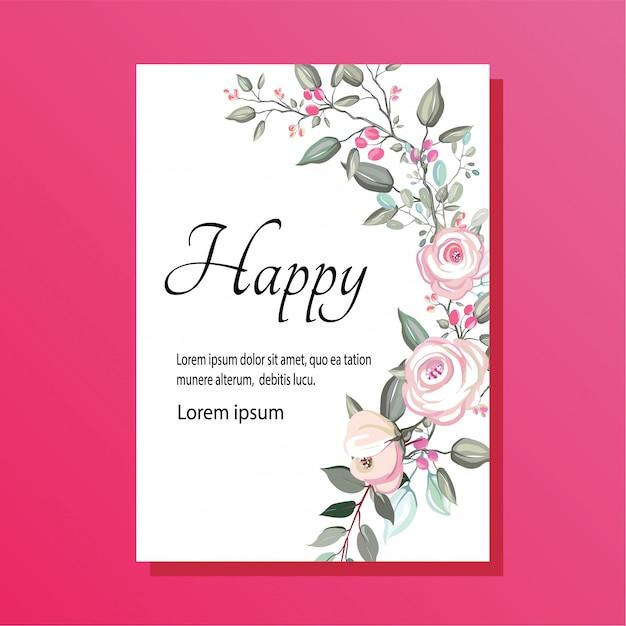 Aquarel bloemenhuwelijksuitnodiging Premium Vector