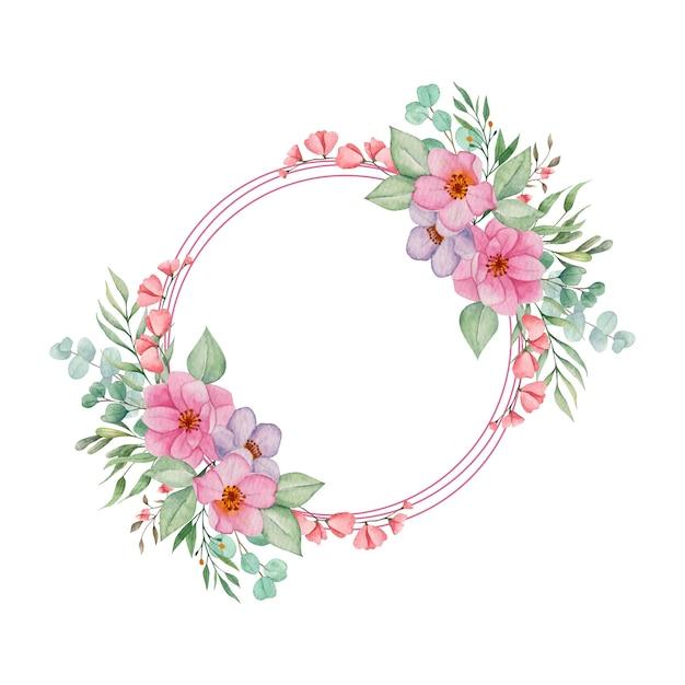 Aquarel bloemenlijst met bladeren Premium Vector