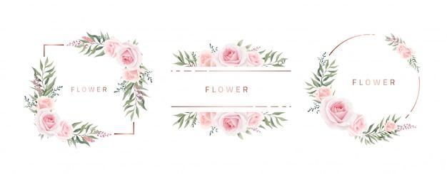 Aquarel bloemenlijst rose eucalyptus. sjabloon bruiloft uitnodigingskaart. roze metalen frame. Premium Vector