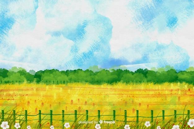 Aquarel boerderij landschap Gratis Vector