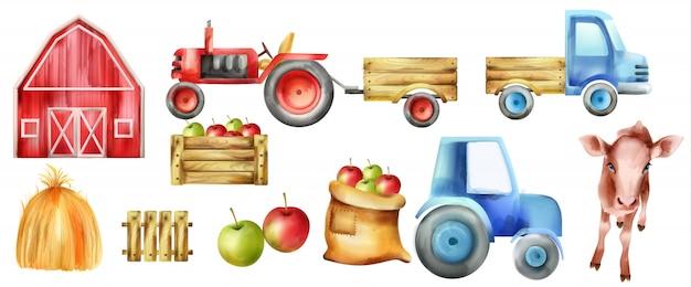 Aquarel boerderij voertuigen en gebouwen set. koe, tractor met slepen, appels in houten kist, rode boerderij en hooiberg Premium Vector