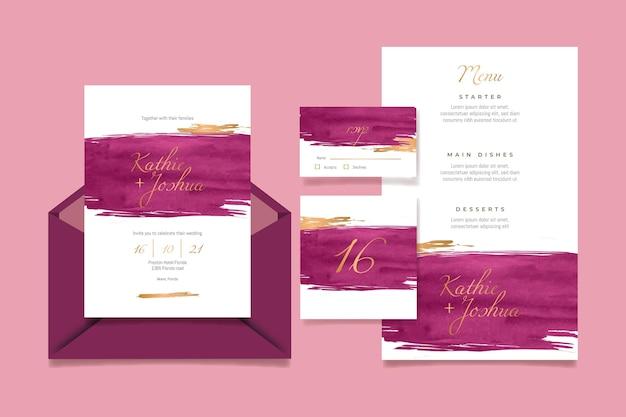Aquarel bordeaux en gouden bruiloft briefpapier pack Gratis Vector