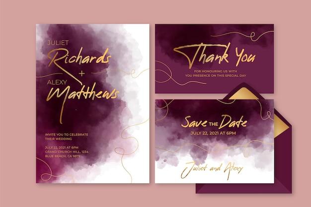 Aquarel bordeaux en gouden bruiloft briefpapier Gratis Vector