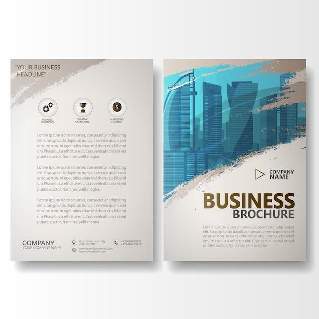 Aquarel borstel slag jaarverslag brochure folder sjabloon Premium Vector