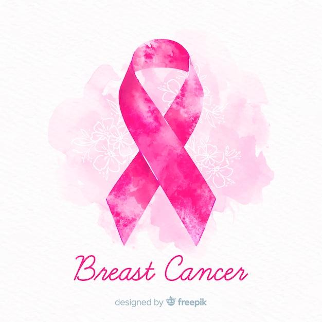 Aquarel borstkanker bewustzijn met lint Gratis Vector