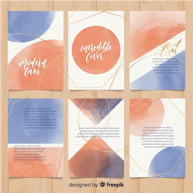 Aquarel brochure sjabloon collectie Gratis Vector