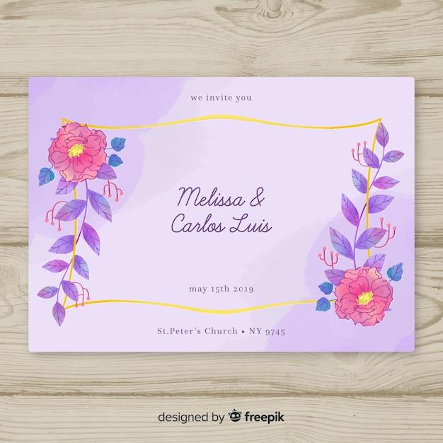 Aquarel bruiloft bloemen uitnodiging Gratis Vector