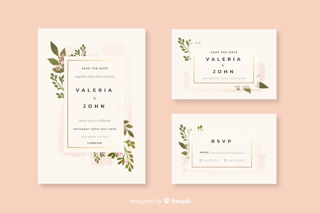 Aquarel bruiloft briefpapier sjabloon collectie Gratis Vector