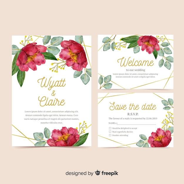 Aquarel bruiloft briefpapier sjabloon set Gratis Vector