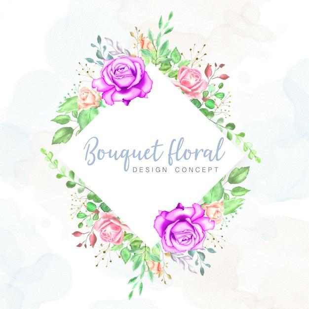 Aquarel bruiloft kaart ontwerpsjabloon Premium Vector