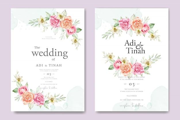 Aquarel bruiloft kaartensjabloon met prachtige bloemen en bladeren Premium Vector