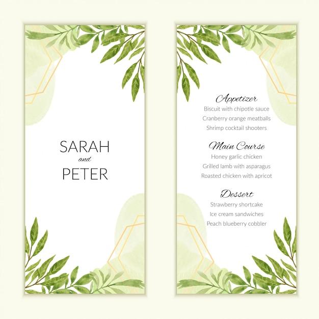 Aquarel bruiloft menukaart met groene gebladerte decoratie Premium Vector