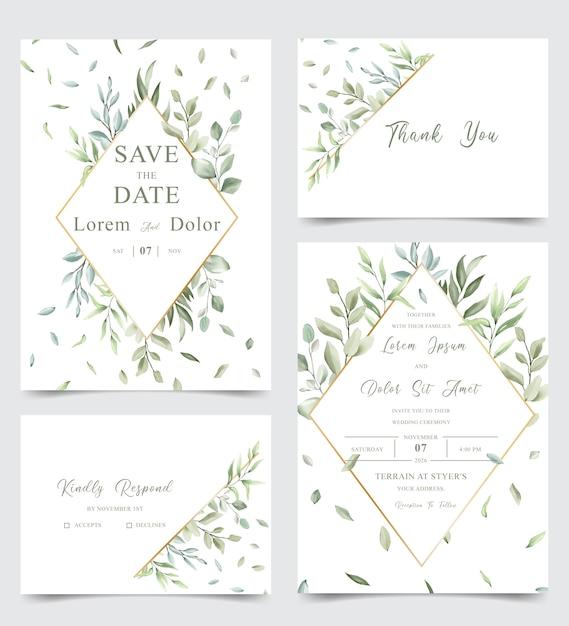 Aquarel bruiloft stationaire sjabloon collectie met groen bladeren Premium Vector