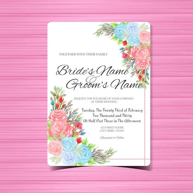 Aquarel bruiloft uitnodiging kaartsjabloon met kleurrijke rozen Premium Vector