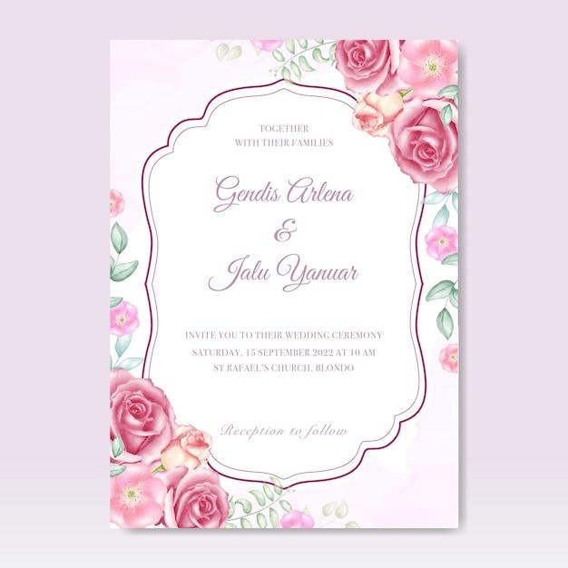 Aquarel bruiloft uitnodiging met bloemen Premium Vector