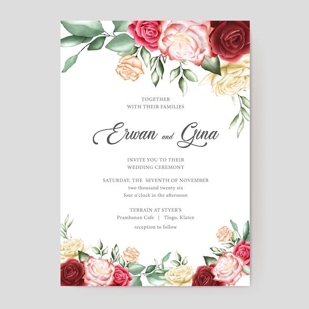 Aquarel bruiloft uitnodiging sjabloon kaart Premium Vector