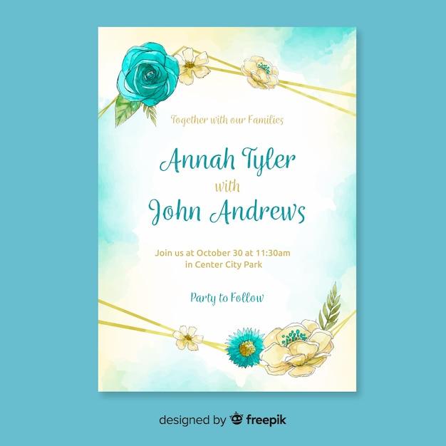 Aquarel bruiloft uitnodiging sjabloon met gouden lijnen Gratis Vector
