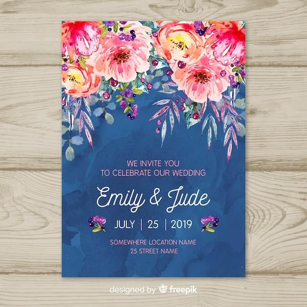 Aquarel bruiloft uitnodiging sjabloon Gratis Vector
