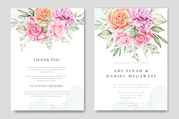 Aquarel bruiloft uitnodigingskaart met prachtige bloemen en bladeren sjabloon Premium Vector