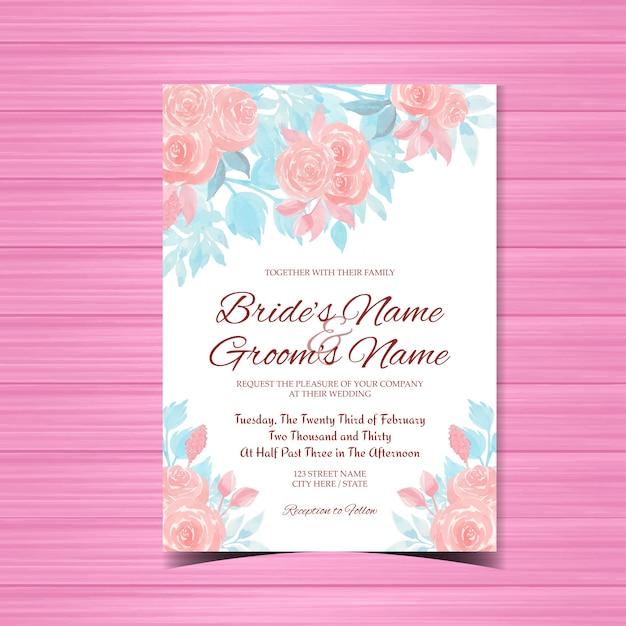 Aquarel bruiloft uitnodigingskaart met roze rozen Premium Vector