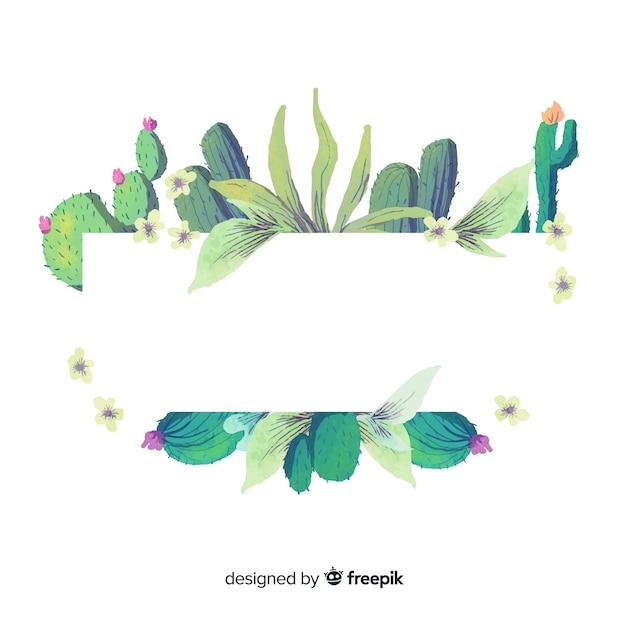 Aquarel cactus achtergrond Gratis Vector