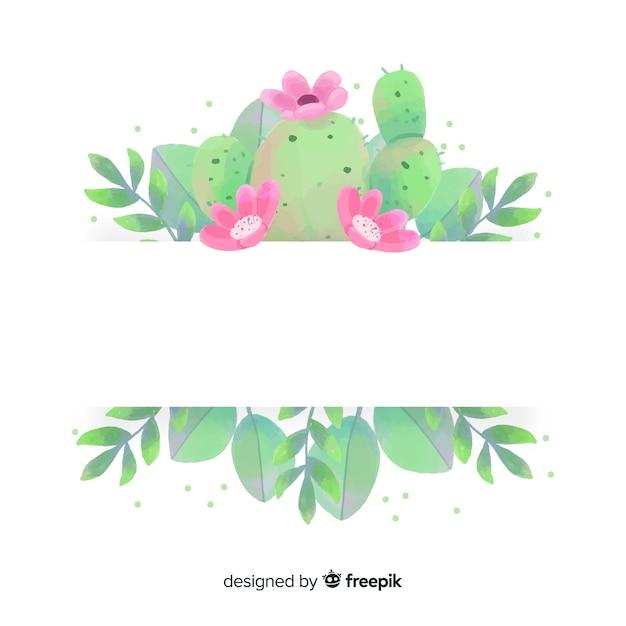 Aquarel cactus banner met lege banner Gratis Vector