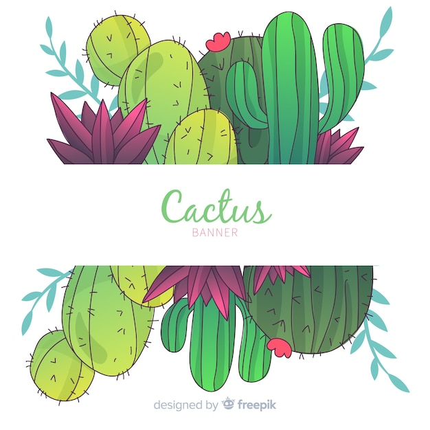 Aquarel cactus banners met lege banner Gratis Vector
